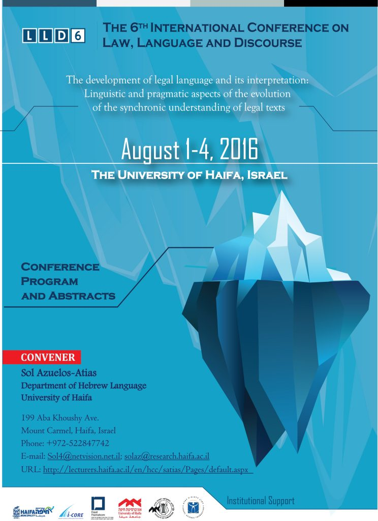 THE 6th INTERNATIONAL CONFERENCE ON LAW LANGUAGE AND DISCOURSE
